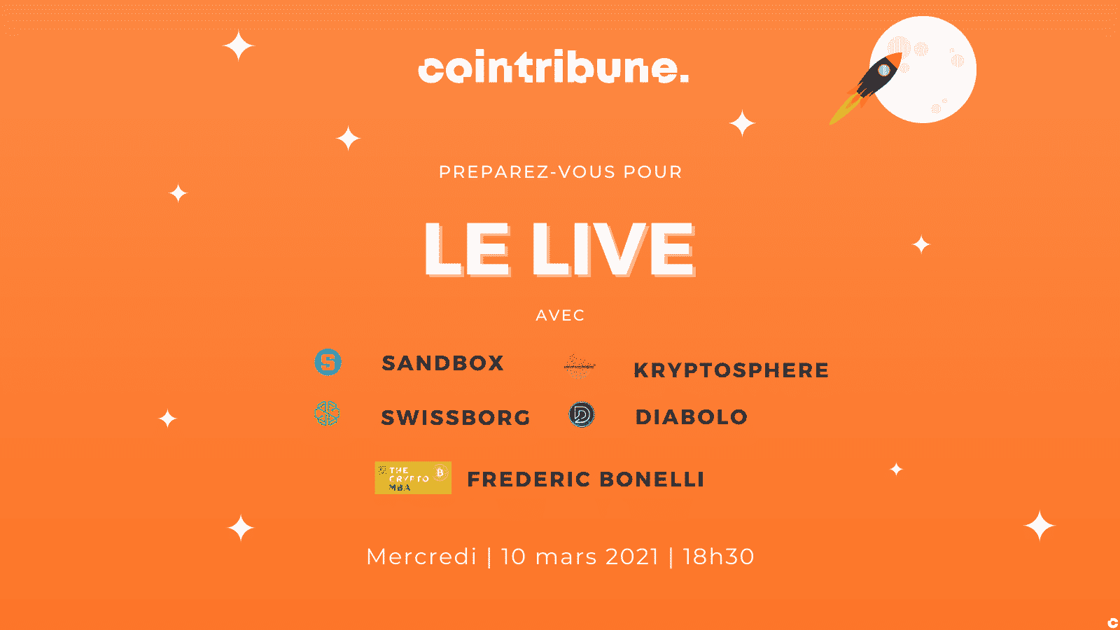 CoinTribune.com, Swissborg, The Sanbdox, Diabolo et Kryptosphère : Débats et cadeaux à gogo ce soir à ... - Cointribune