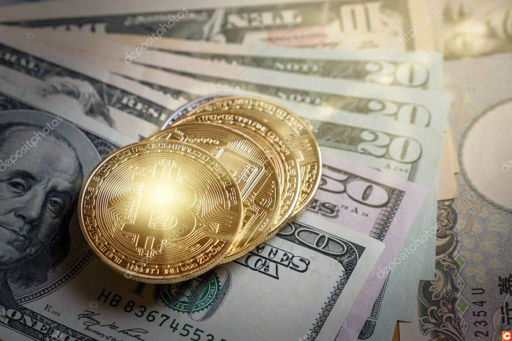 Closeup Bitcoins mockup on the money paper bank of various country, cryptocurrency and investment concept