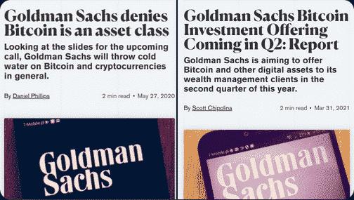 Bitcoin goldman SAchs