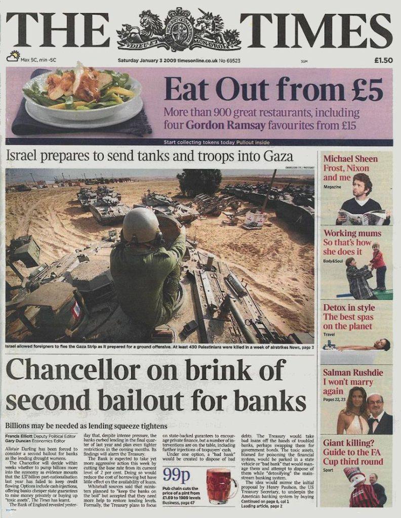 """Article """"The Times"""", Le Chancelier anglais est sur le point de renflouer les banques pour la deuxième fois."""