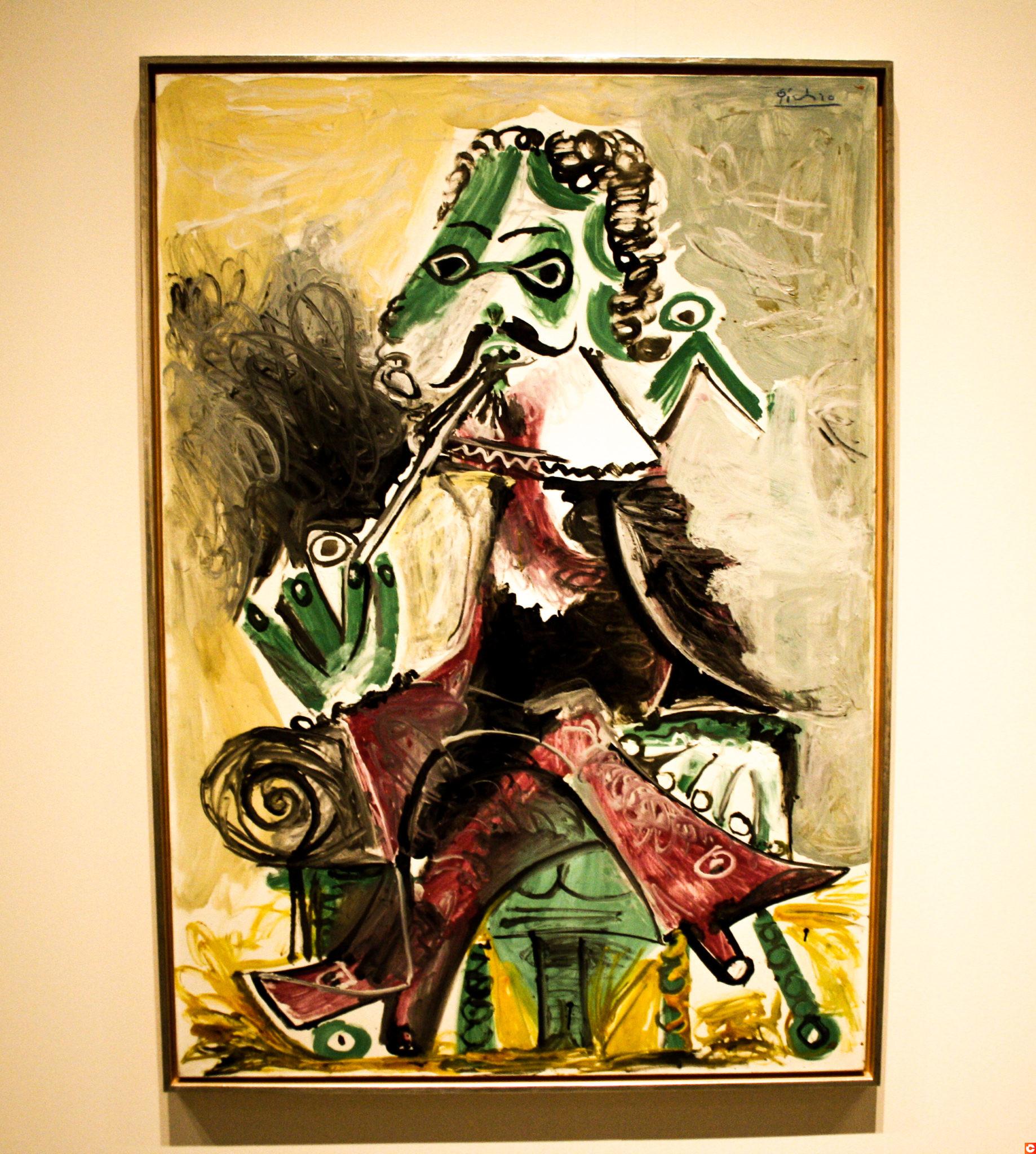 A picture in the Artium museum Mousquetaire à la pipe by Pablo Picasso, 1966