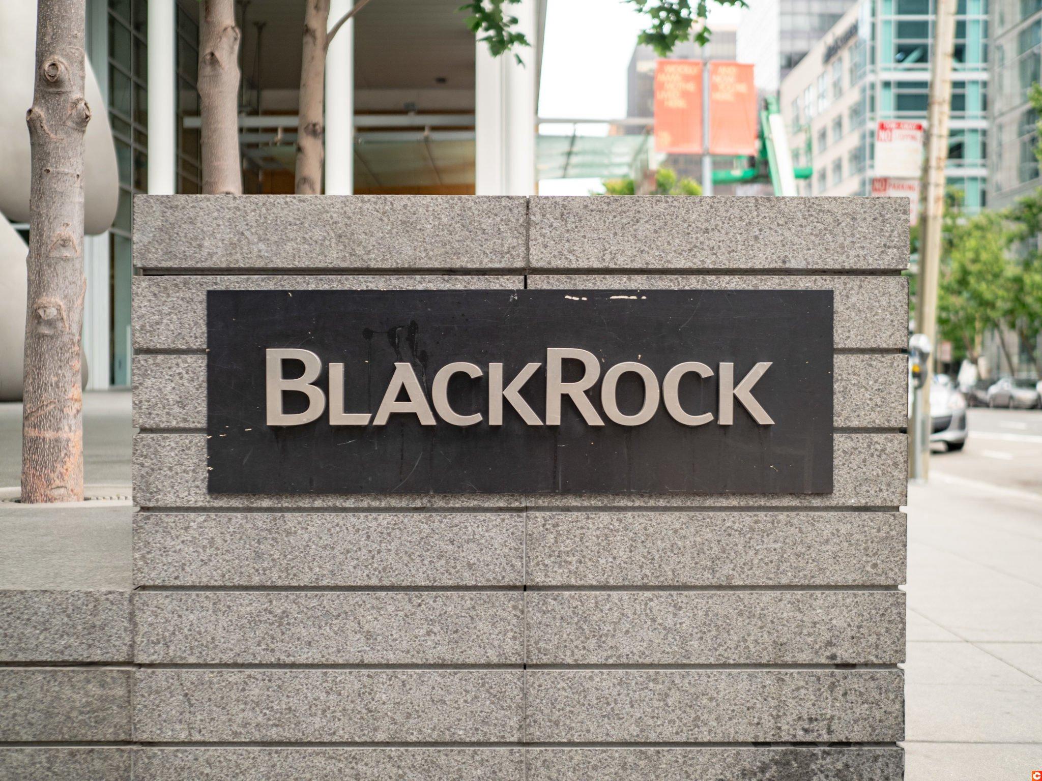 BlackRock financial services logo outside of office in San Francisco