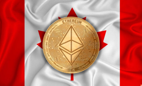 Canada flag, ethereum gold coin on flag background. The concept of blockchain, bitcoin, currency decentralization in the country. 3d-rendering