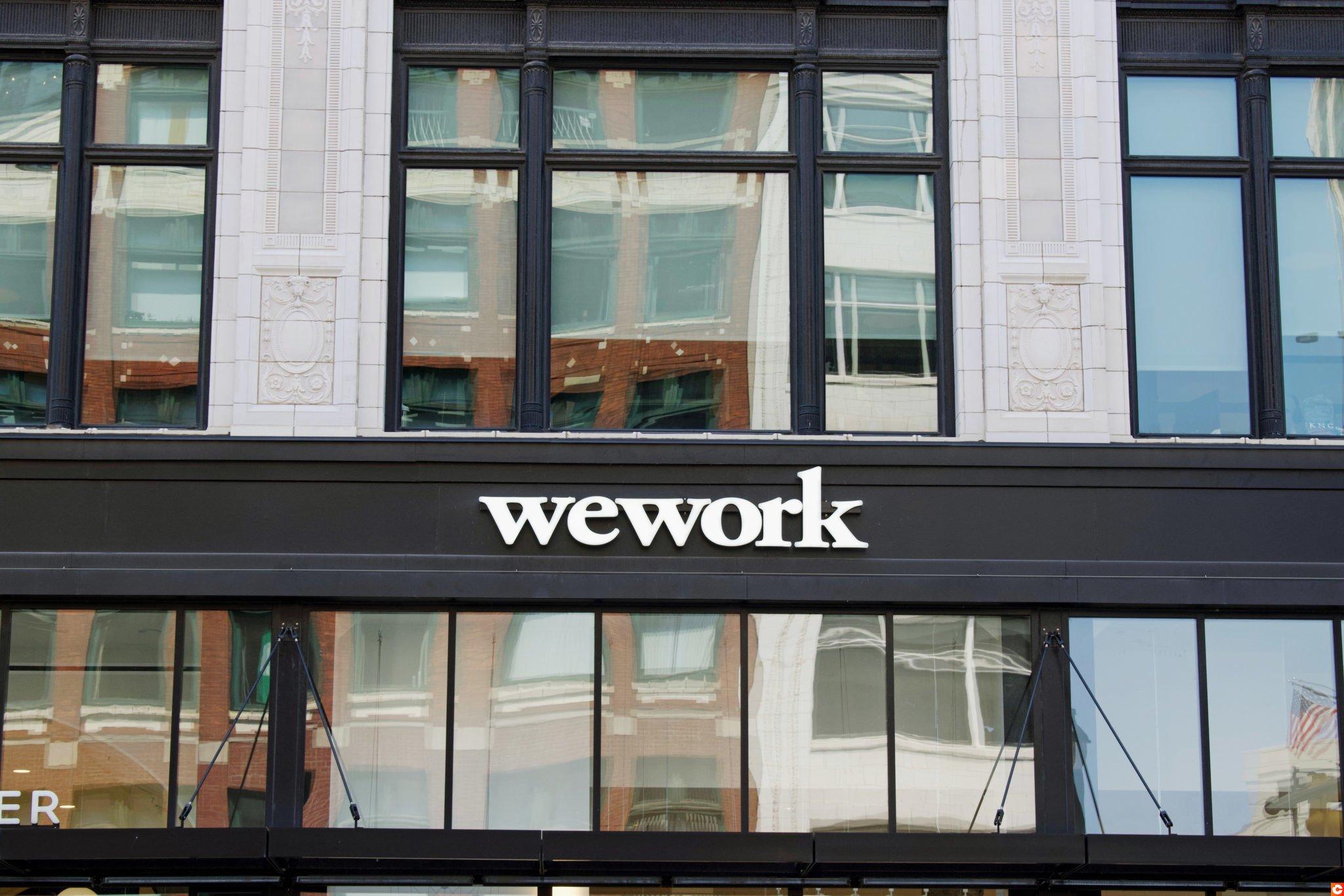 DETROIT, MICHIGAN/USA July 26, 2019: Wework exterior sign in downtown Detroit, Michigan, July 26, 2019