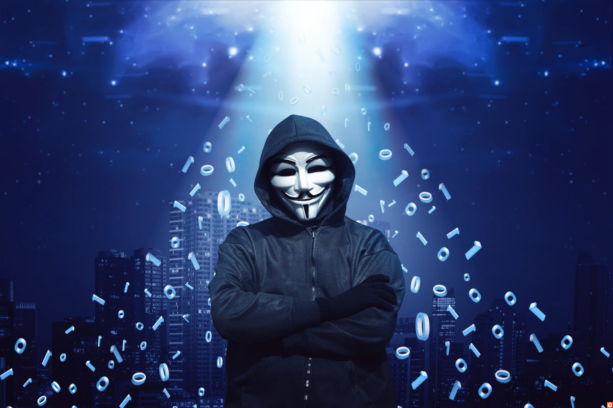 hacker in mask and gloves