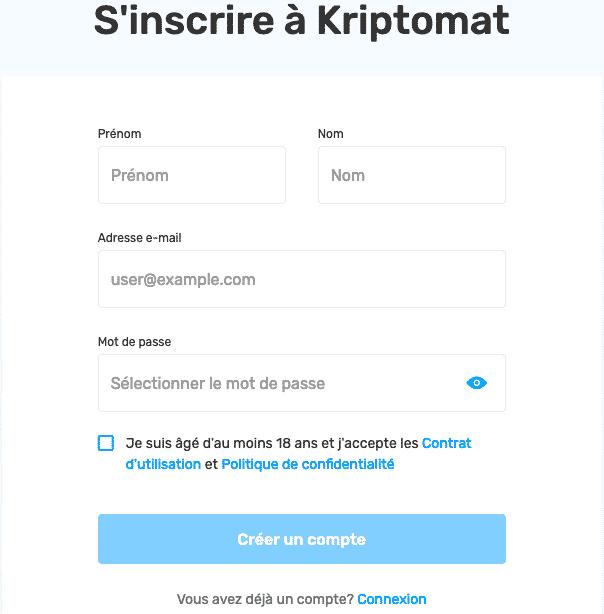 Kriptomat interface