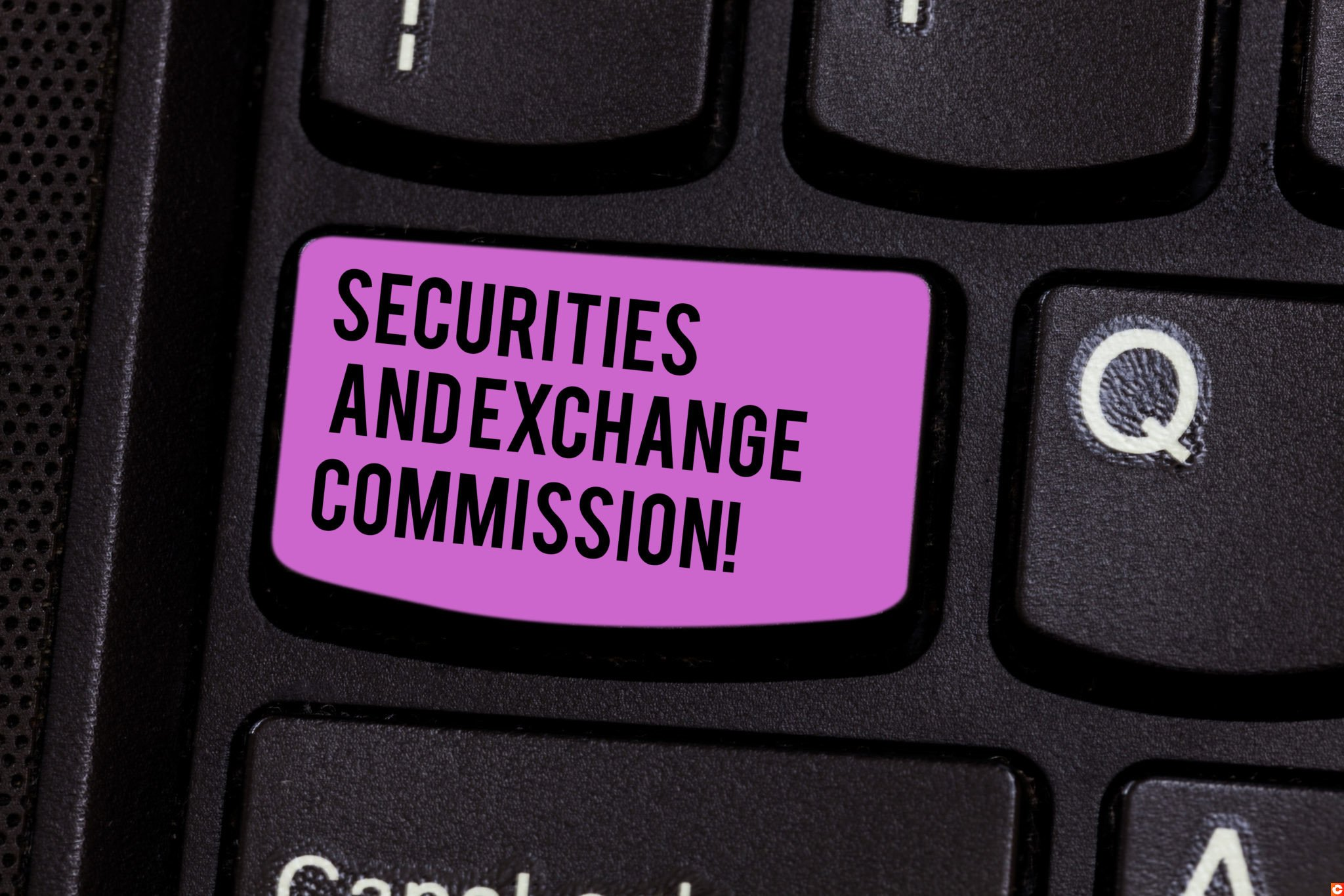 Writing note showing Securities And Exchange Commission. Business photo showcasing Safety exchanging commissions financial Keyboard key Intention to create computer message pressing keypad idea.
