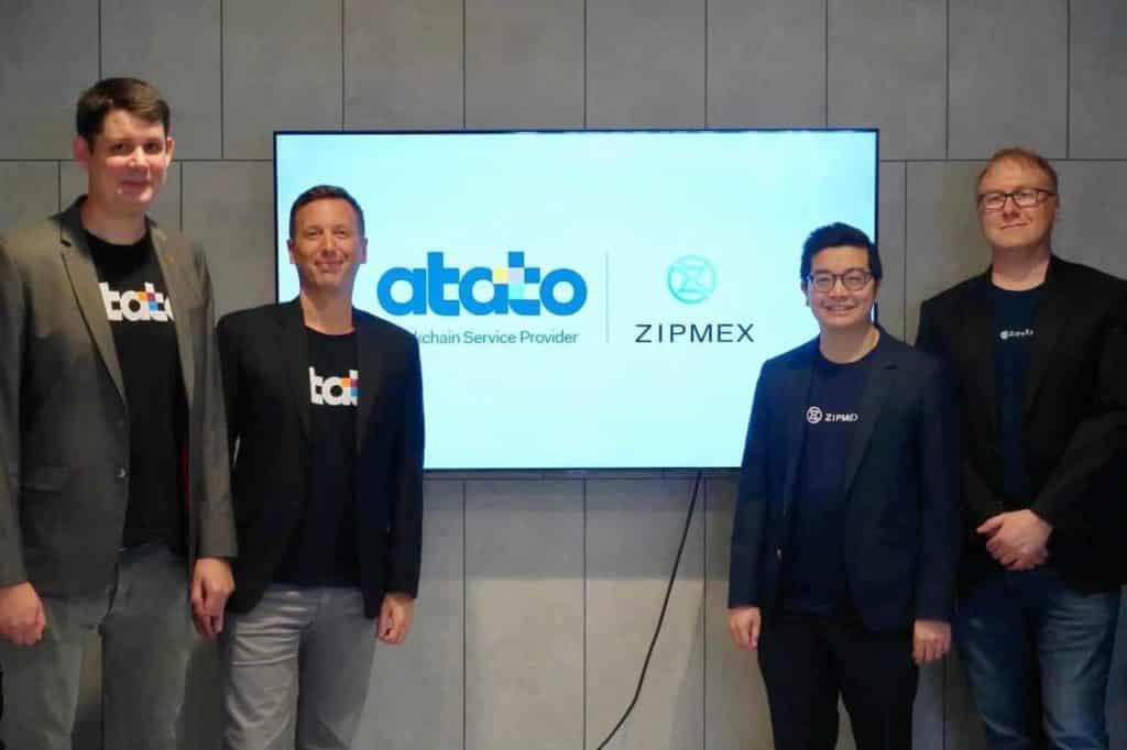 L'équipe de Atato (Guillaume le Saint, CEO et Maxime Paul, CMO) avec les investisseurs de l'échange Zipmex