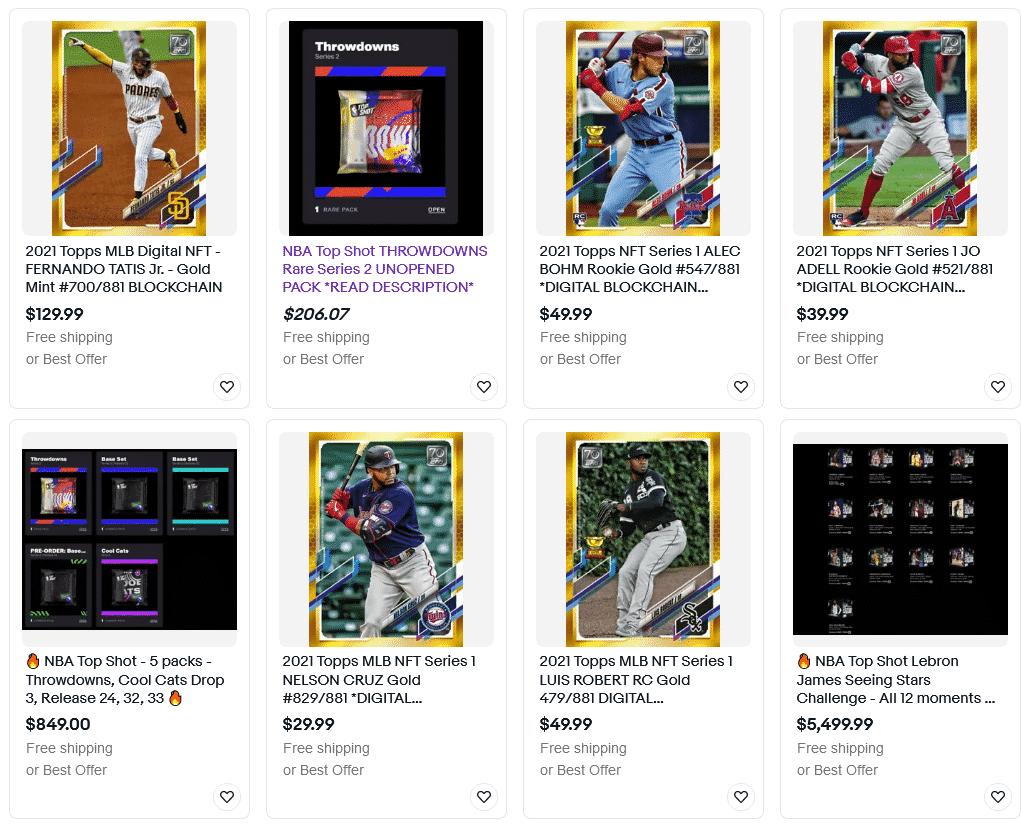 Les cartes à collectionner NFTs sur Ebay