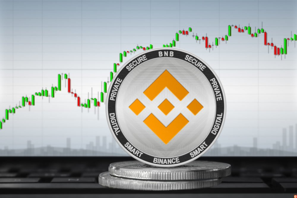 Binance Coin (BNB) cryptocurrency; Binance coin on the background of the chart