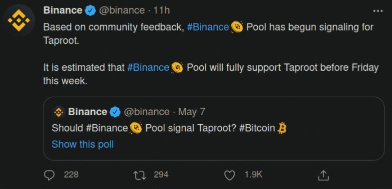Binance signale Taproot