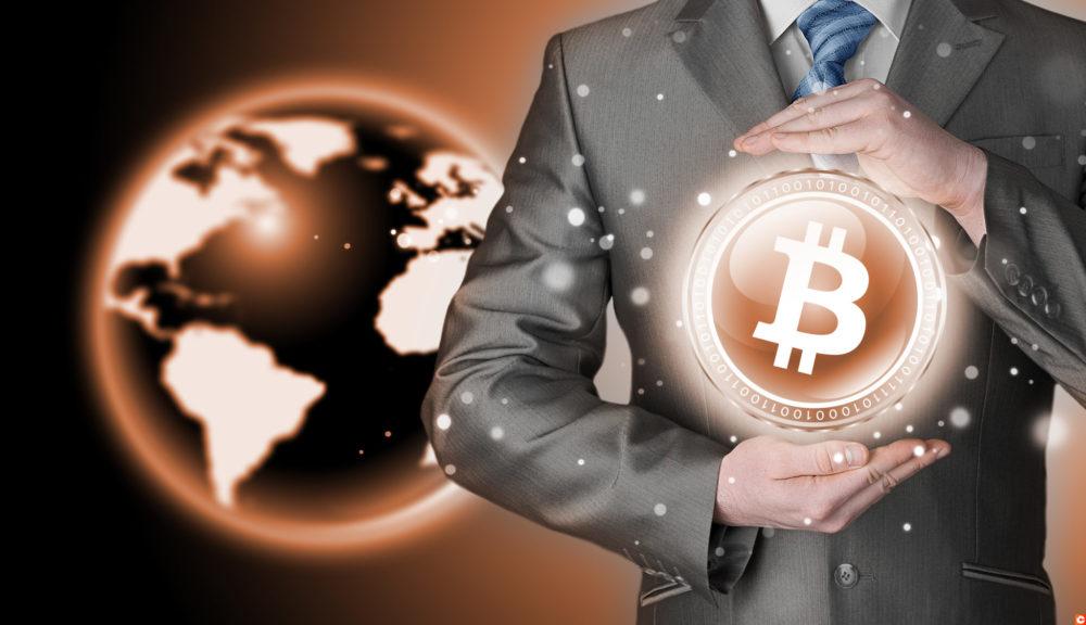 Businessman protecting bitcoin