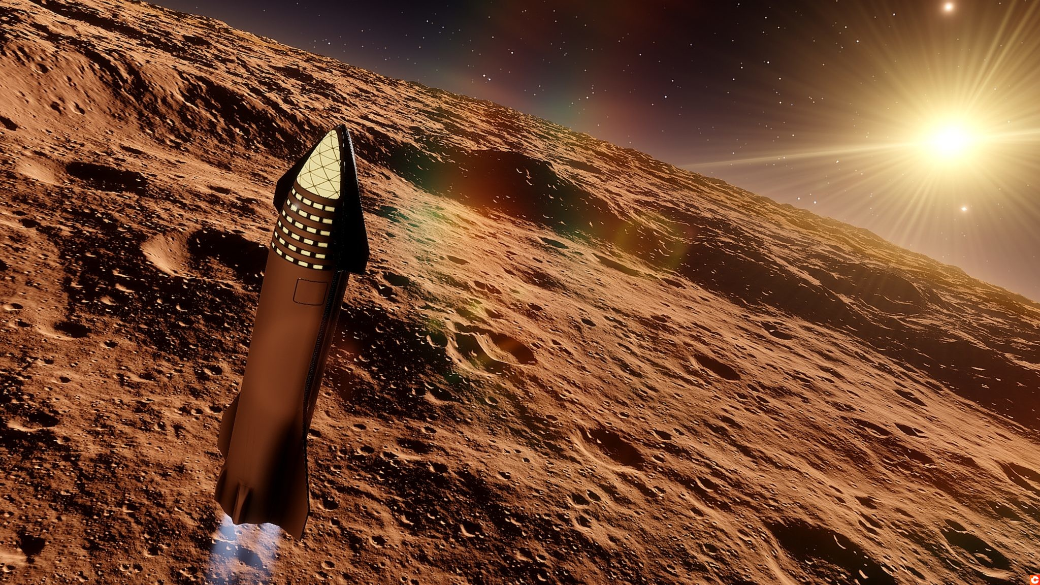 SpaceX Starship in orbit of the alien planet, SpaceX Concept Spacecraft in orbit of the Earth 3d render
