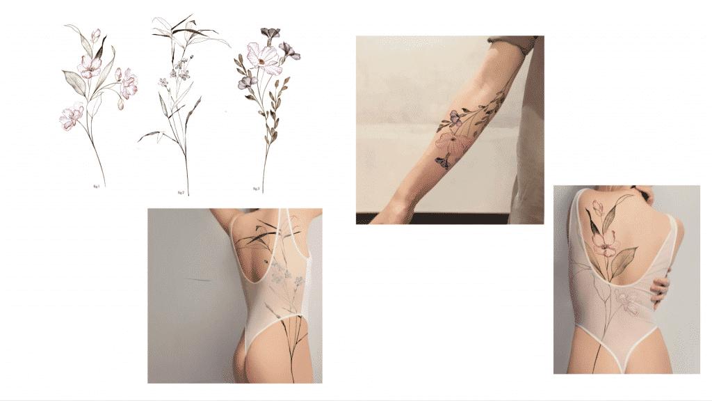 Les 3 motifs floraux NFT et des exemples de tatouages possibles.