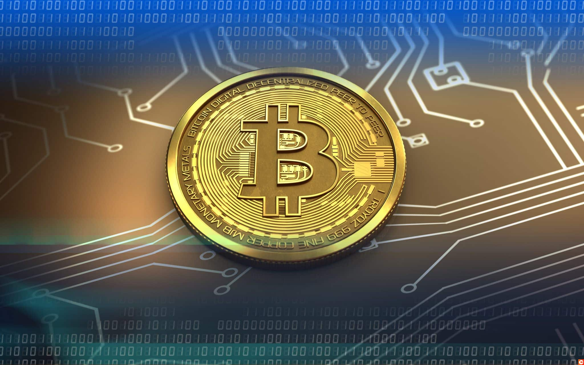 3d illustration of bitcoin over circuit background with blue binary code