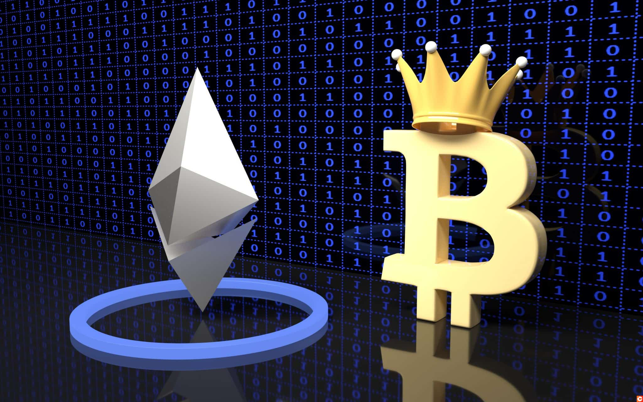 Bitcoin and Ethereum currency signs.