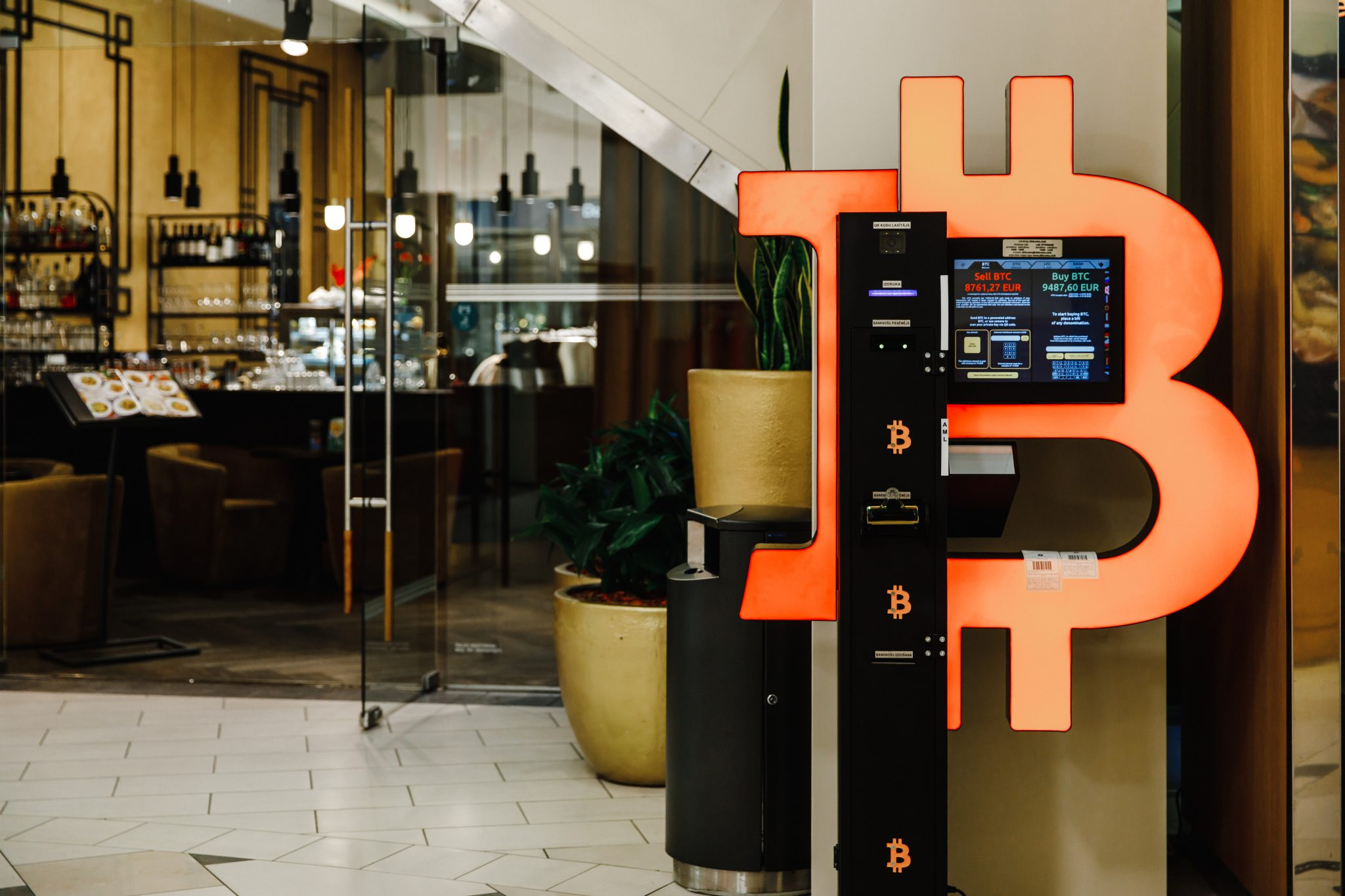 Bitcoin ATM machine in mall for cryptocurrency exchange