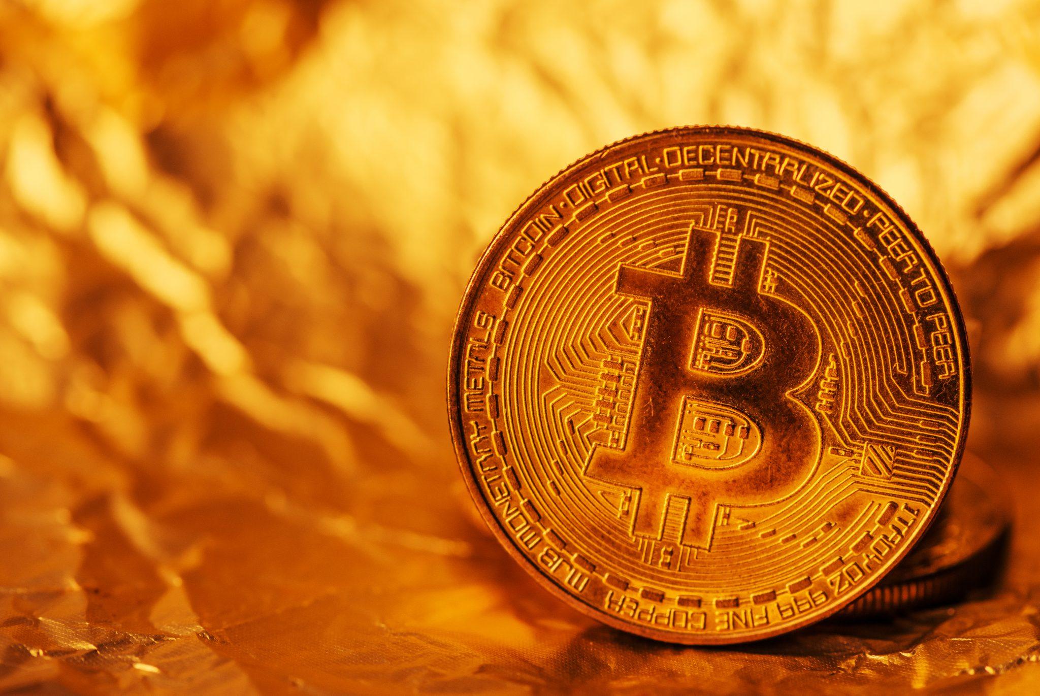 Bitcoin, blockchain cryptocurrency golden coin