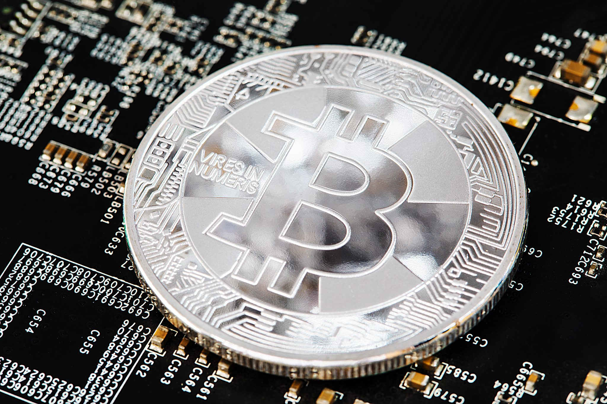 Bitcoin Cryptocurrency Digital Bit Coin BTC Currency Technology Business Internet Concept.