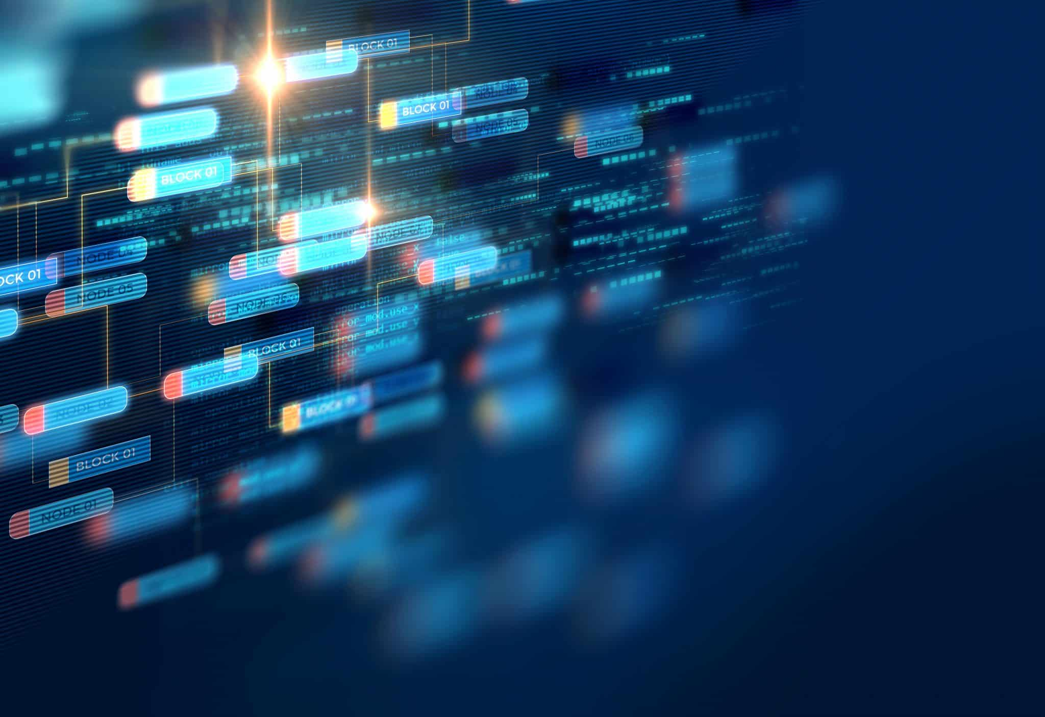 Block chain network concept on technology background