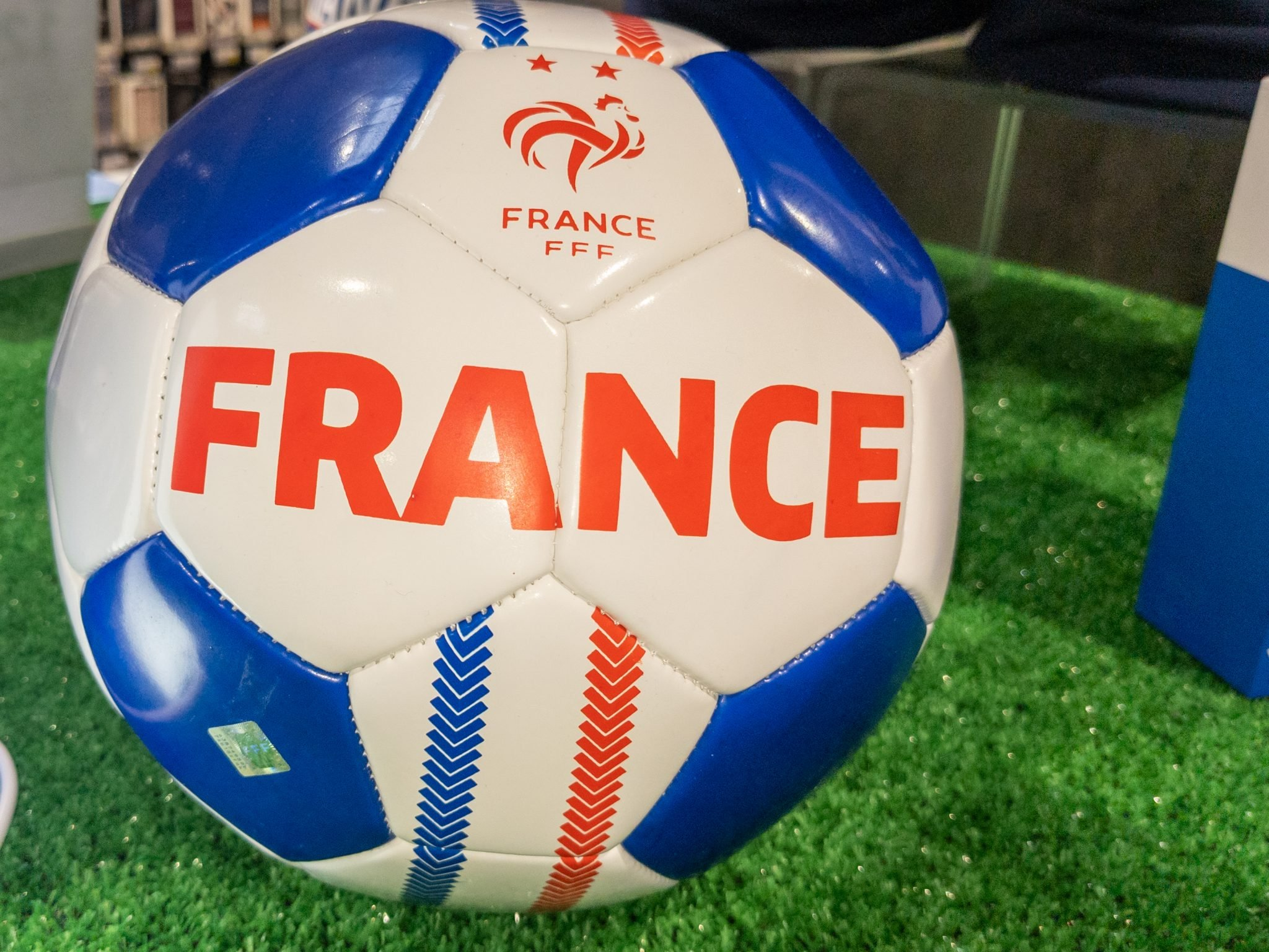 Bordeaux , Aquitaine France - 05 18 2021 : fff french football soccer ball with national flag of france