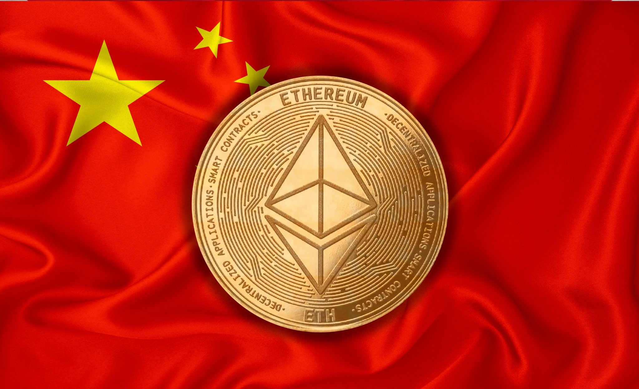 China flag, ethereum gold coin on flag background. The concept of blockchain, bitcoin, currency decentralization in the country. 3d-rendering