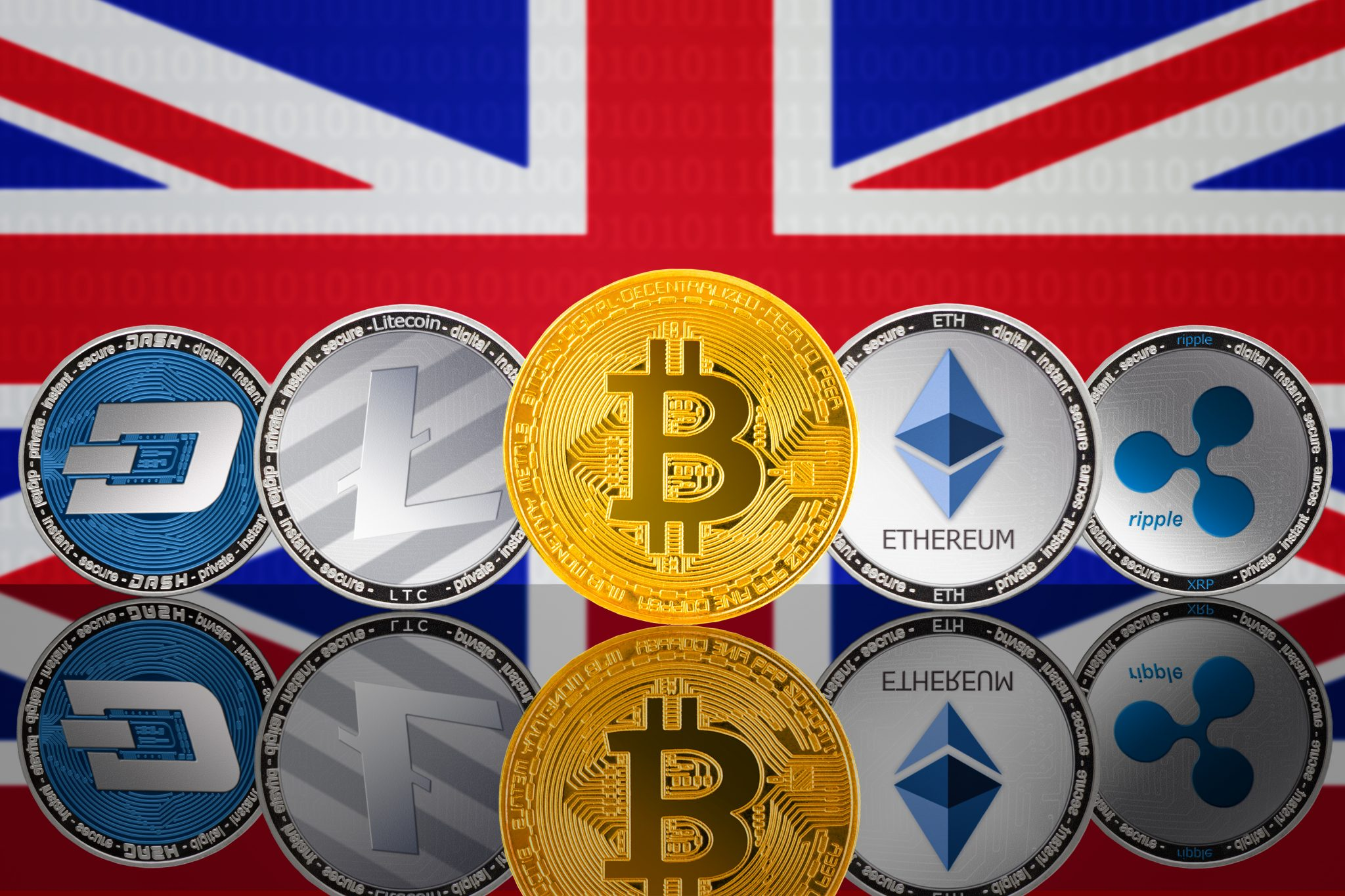 Cryptocurrency coins - Bitcoin (BTC), Litecoin (LTC), Ethereum (ETH), Ripple (XRP), DASH on the background of the flag of United Kingdom. Front view