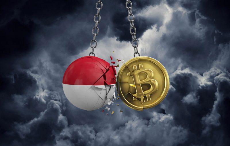 Indonesia flag smashing into a gold bitcoin crypto coin. 3D Rendering