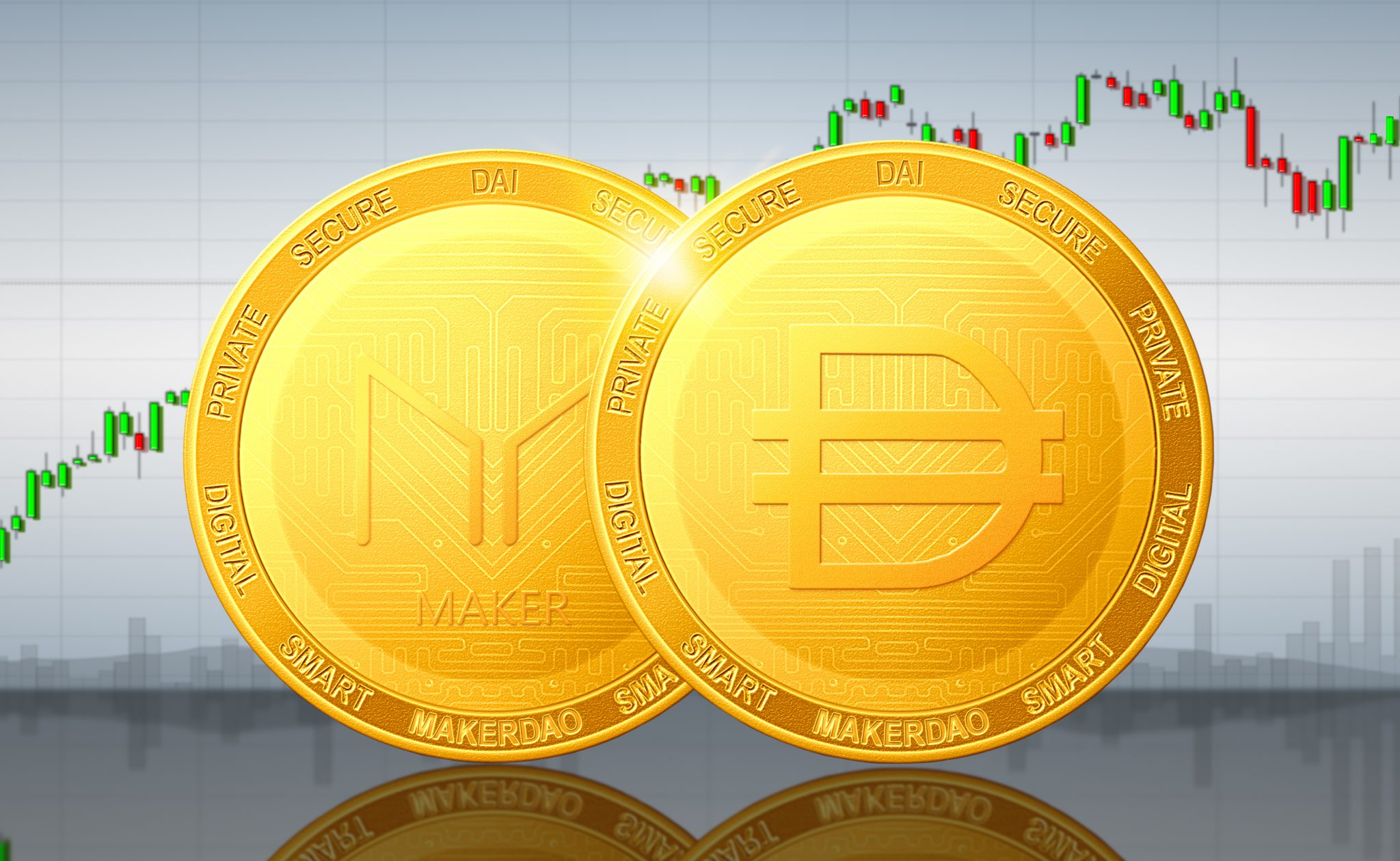 MakerDAO DAI cryptocurrency; MakerDAO DAI golden coins on the background of the chart