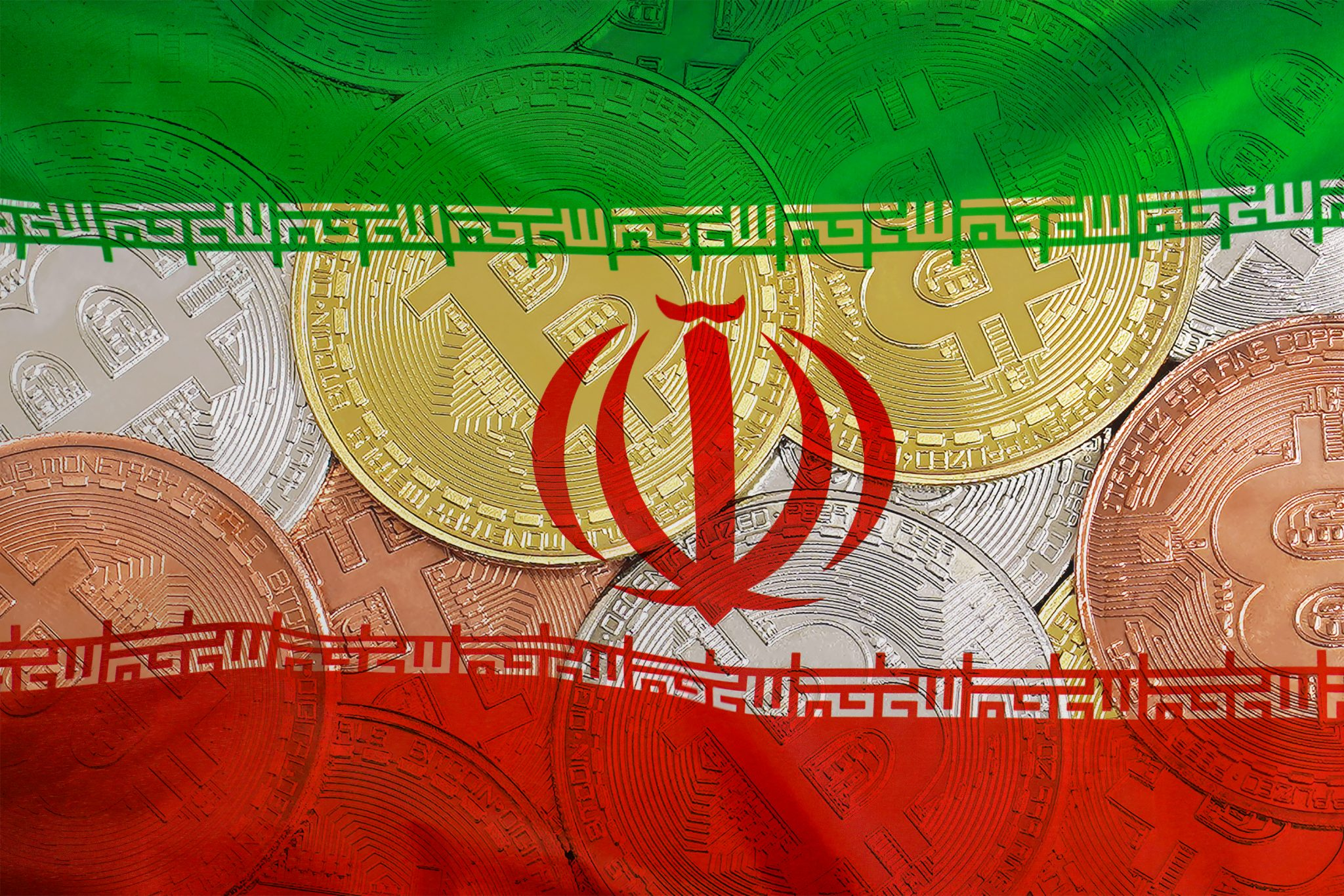 Mining in Iran. Bitcoins on the background of the Iran flag. Concept for investors in cryptocurrency and Blockchain technology in Iran