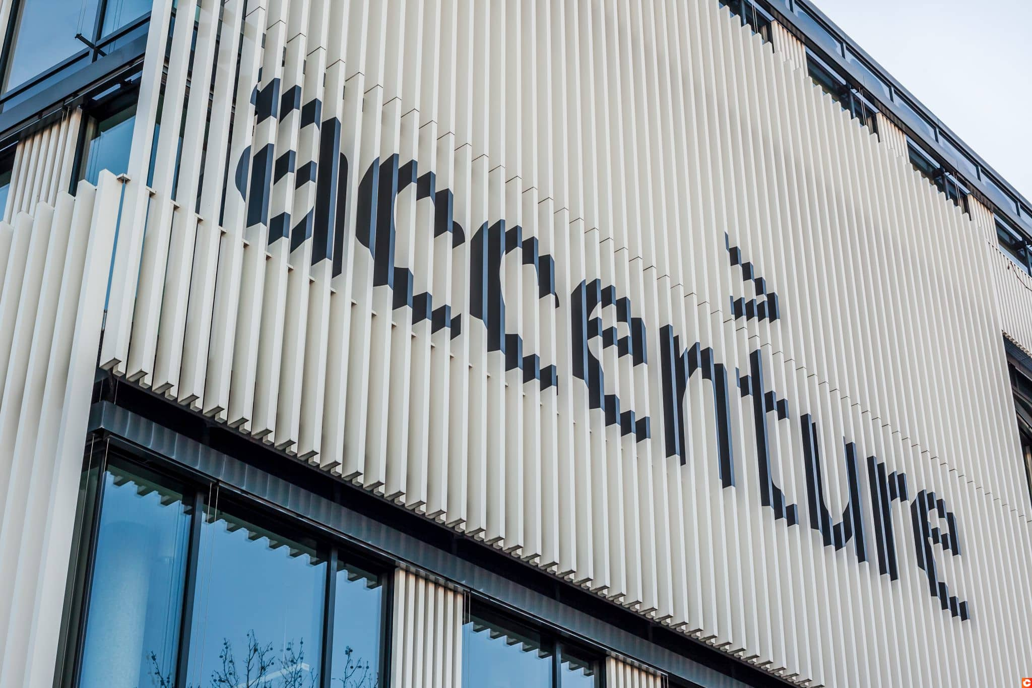 MUNICH, GERMANY - DECEMBER 26, 2018: Accenture logo at the company office building located in Munich, Germany