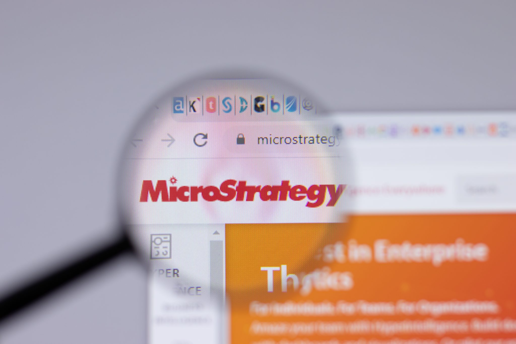 New York, USA - 26 April 2021: MicroStrategy logo close-up on website page, Illustrative Editorial