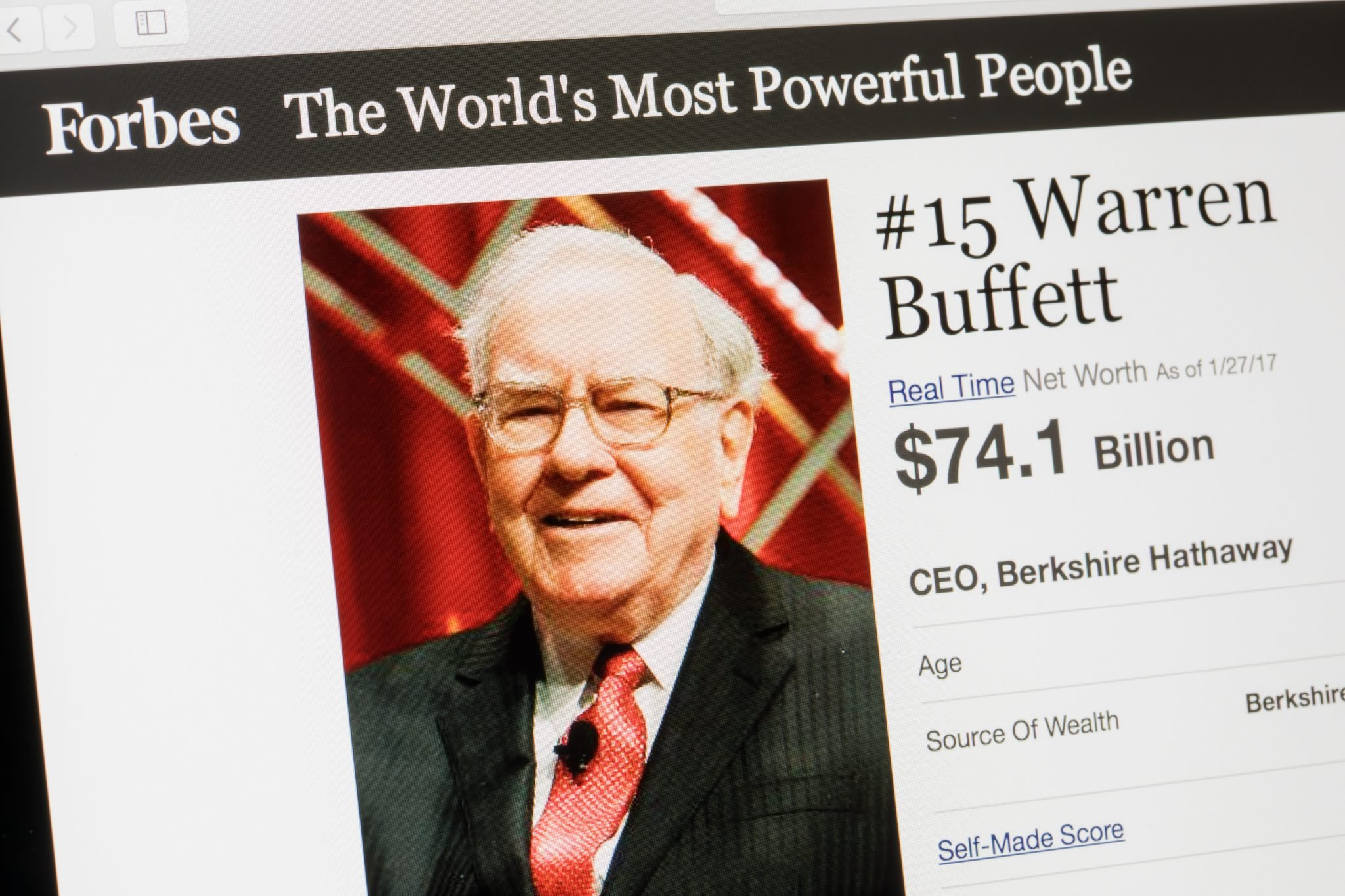 RIGA, LATVIA - February 24, 2017: Forbes Magazine list of The Worlds Most Powerful People.Number 15 Warren Buffet the CEO of Berkshire Hathaway.
