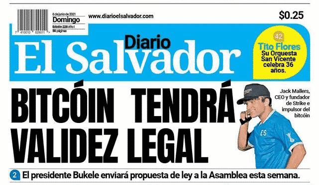 La une du journal El Salvador