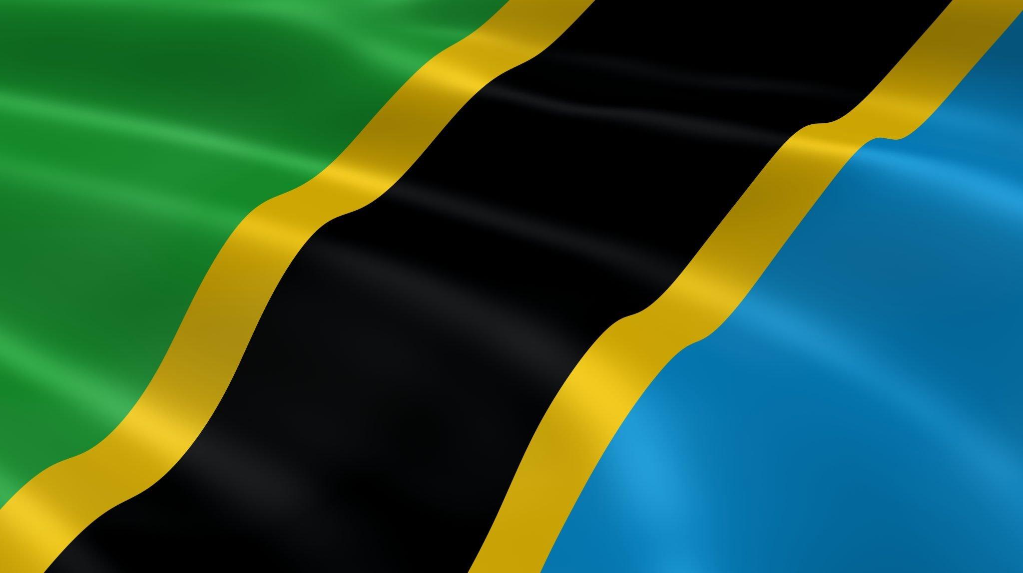 Tanzanian flag in the wind
