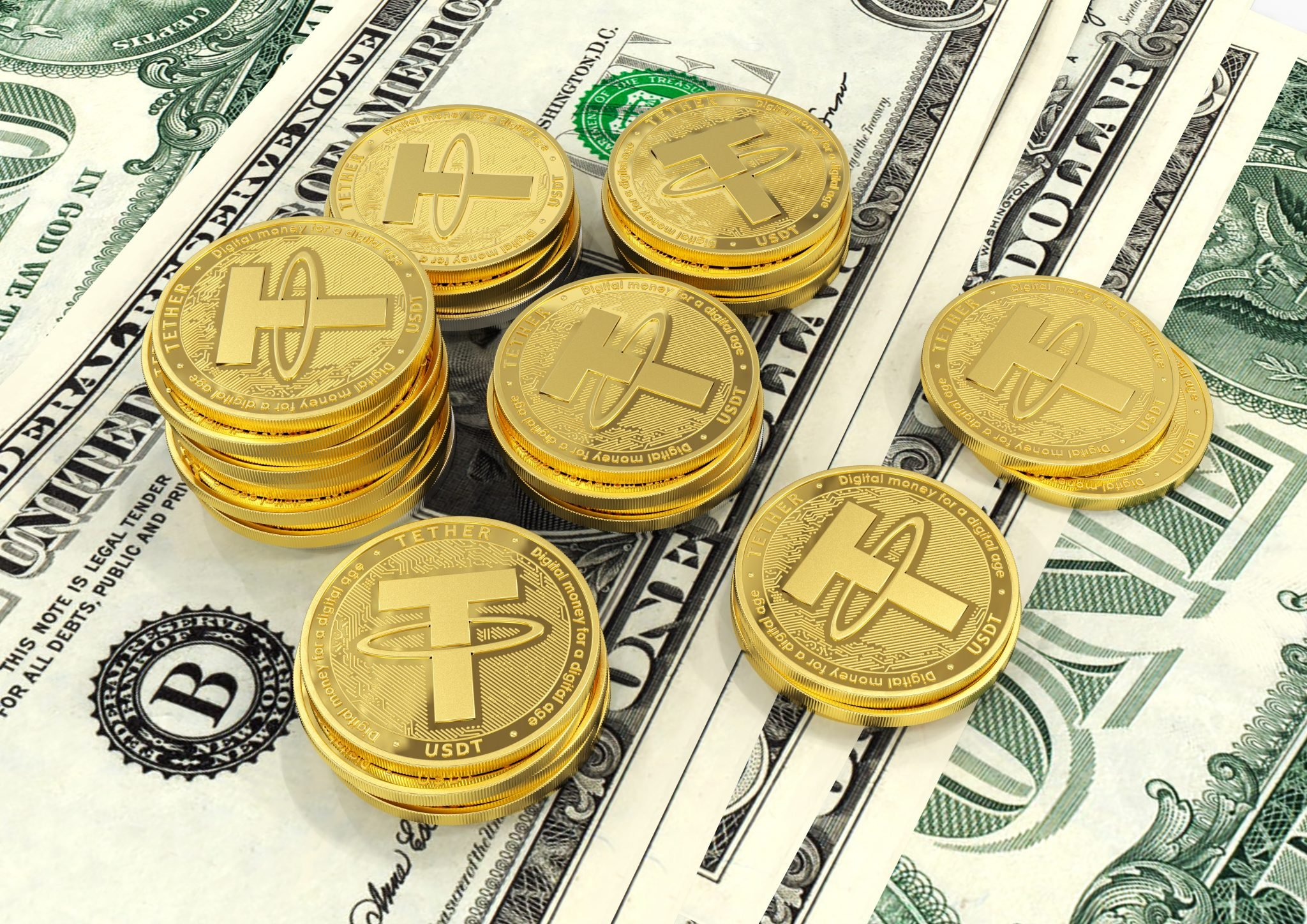 Tether. Cryptocurrency Gold coins. Cryptocurrency mining.