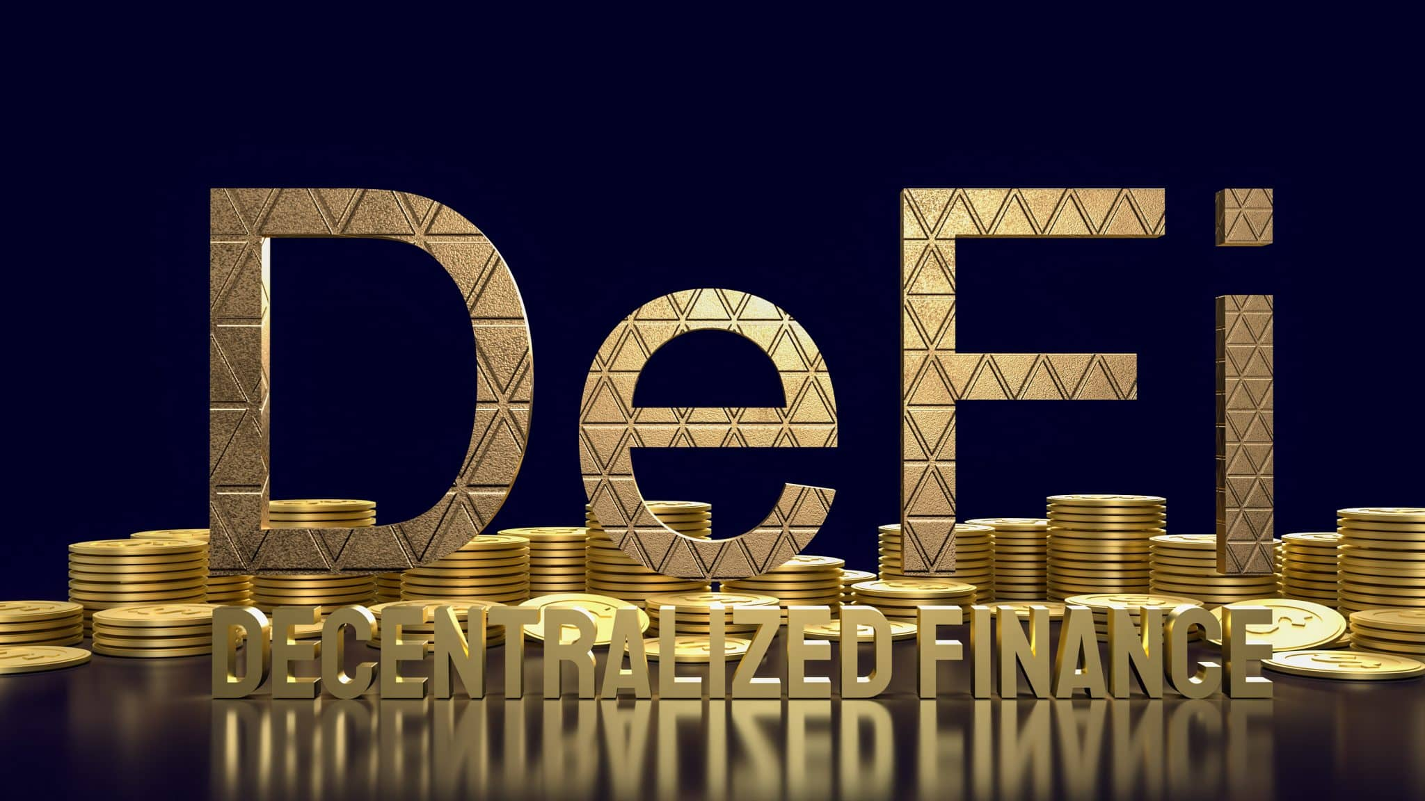 The  defi farming gold word and gold coins  for cryptocurrency business concept 3d rendering