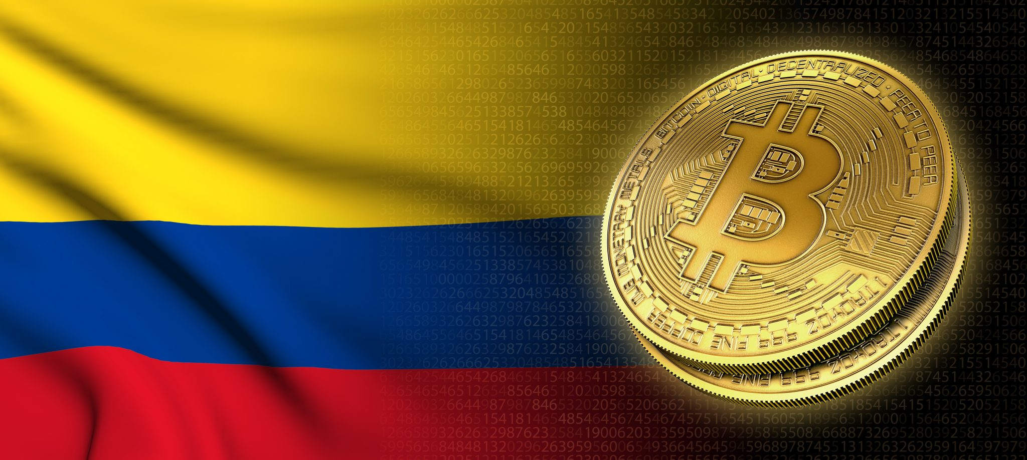 3D rendering: Bitcoin cryptocurrency coin with the national flag of Colombia, on a black background