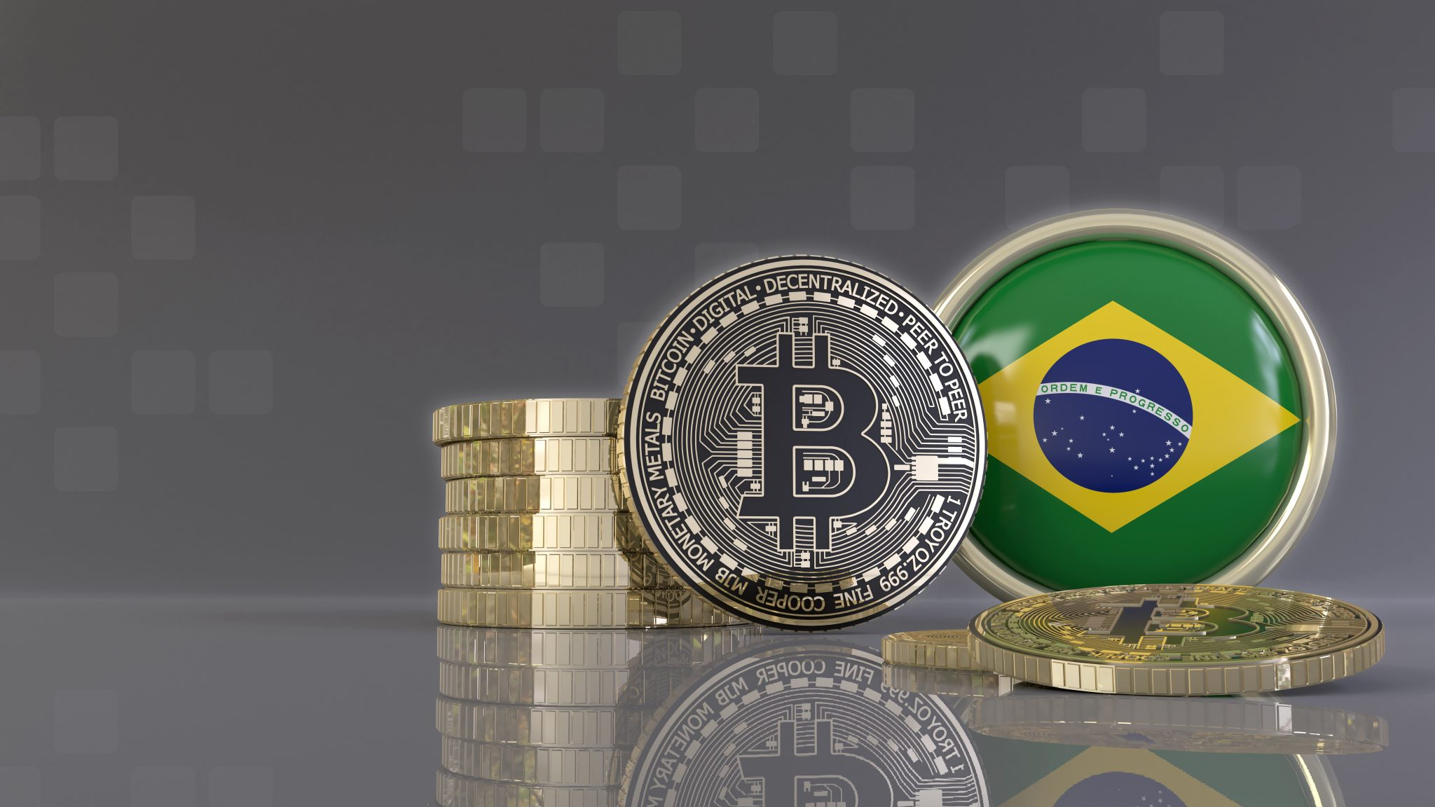 3d rendering of some metallic Bitcoins in front of an badge with the Brazilian flag