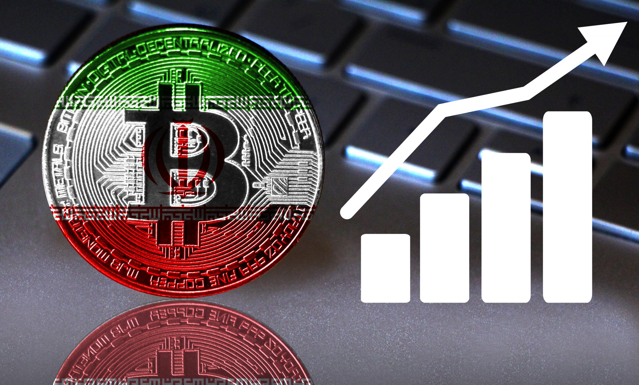 Bitcoin close-up on the keyboard background, the Iran flag is shown on the bitcoin. Also the growth chart is shown.