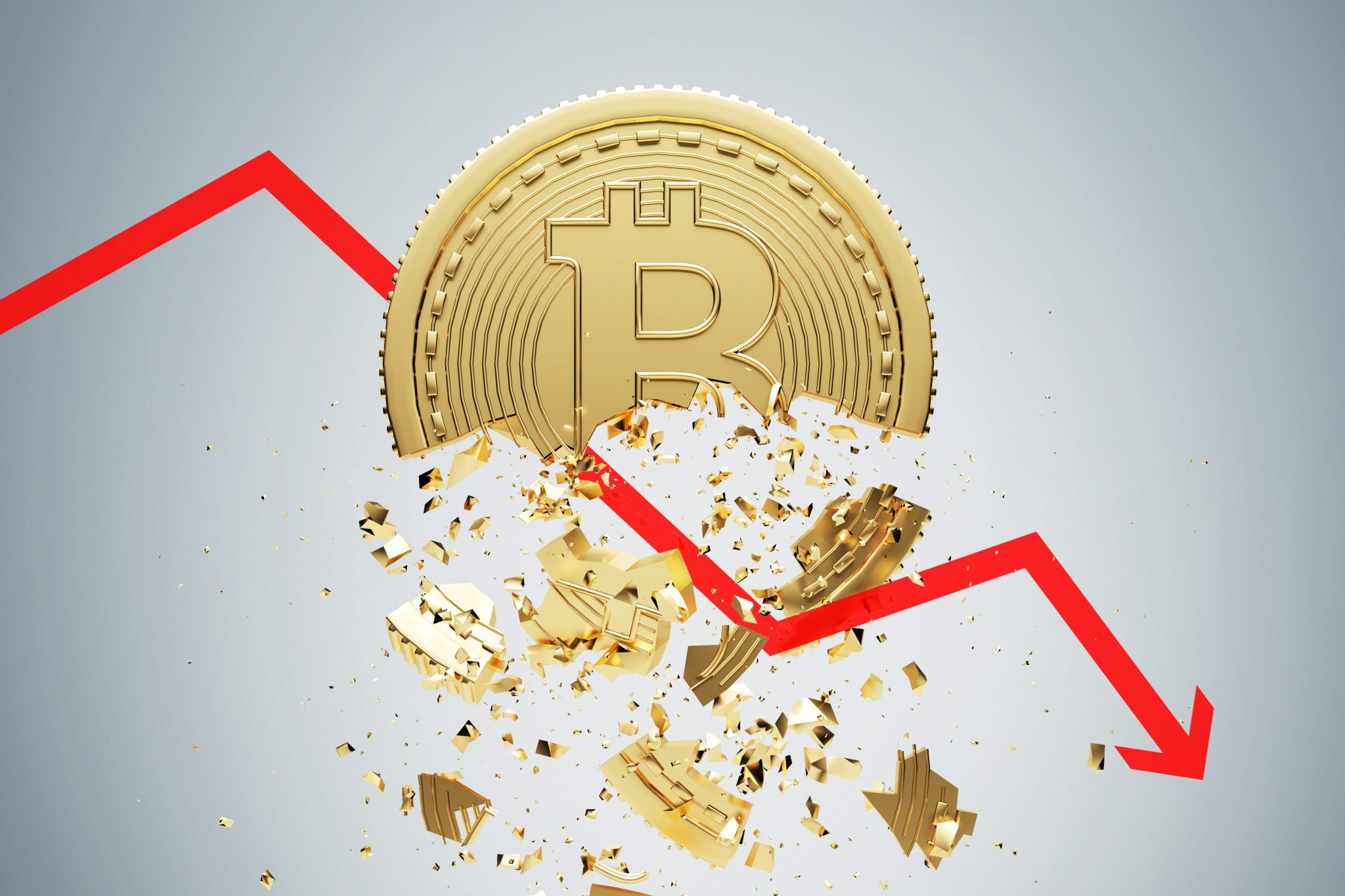 Bitcoin collapse, gray background, graph