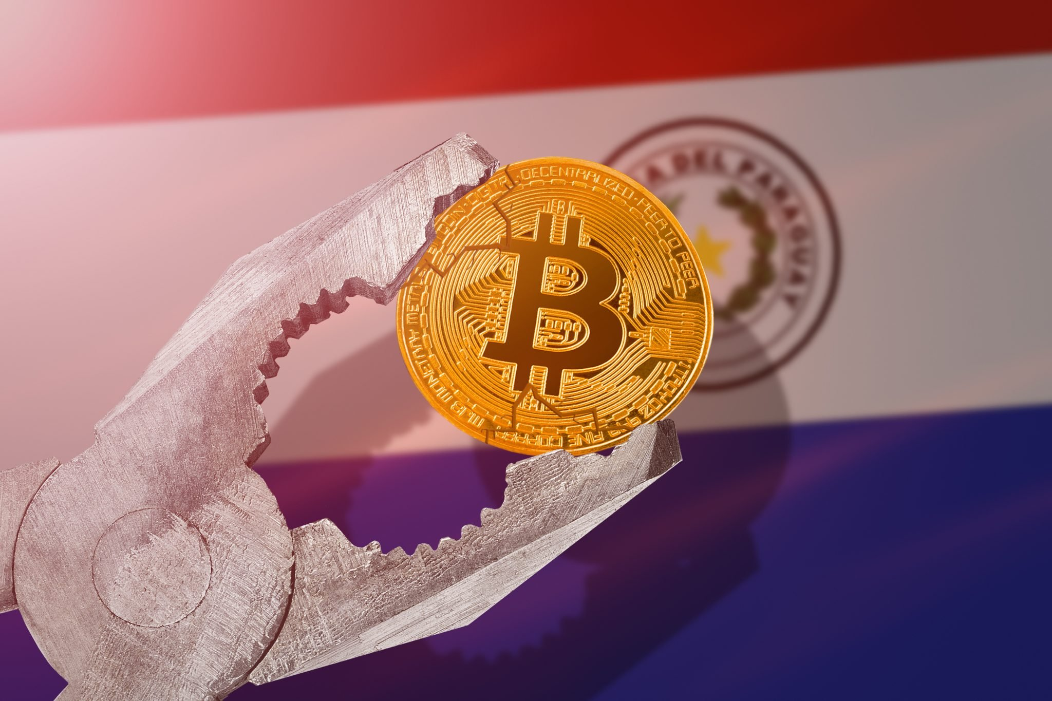 Bitcoin regulation in Paraguay; bitcoin btc coin being squeezed in vice on Paraguay flag background; limitation, prohibition, illegally, banned