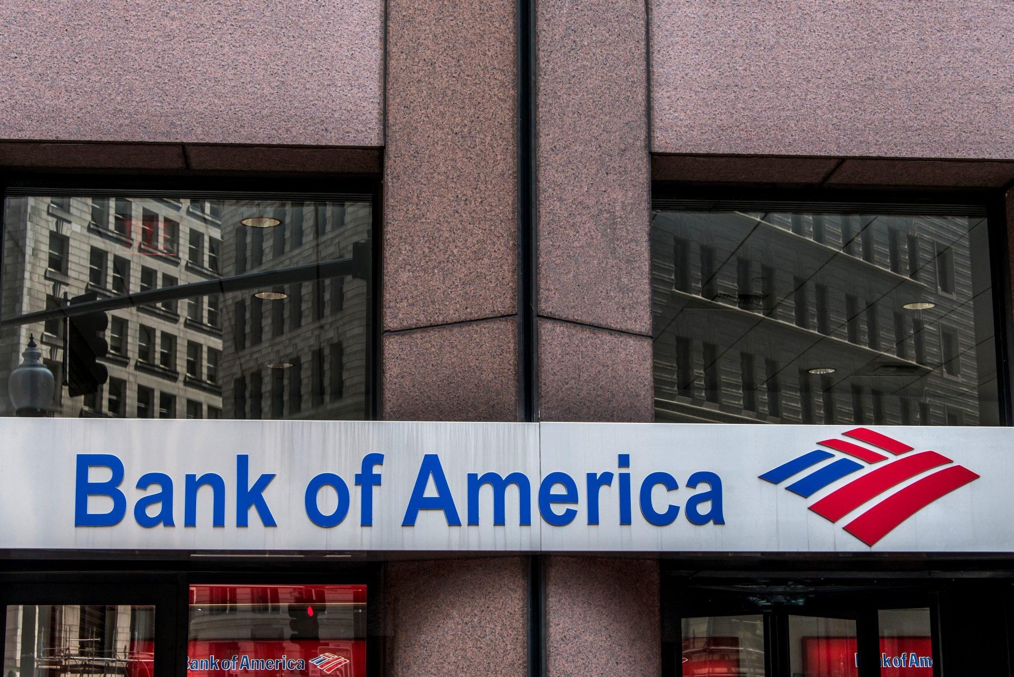 Boston massachusetts USA 06.09.2017 Bank of America logo American multinational banking financial services corporation