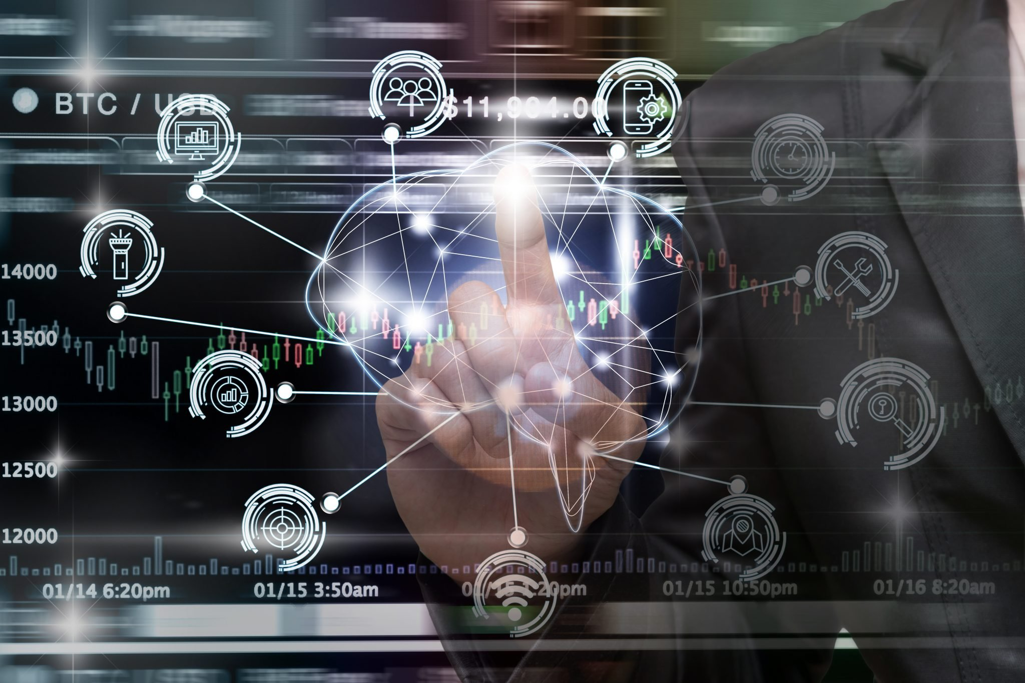 Businessman hand pointing the Polygonal brain shape of an artificial intelligence with various icon of smart city Internet of Things Technology over Cryptocurrency Bitcoin exchange trading, AI concept