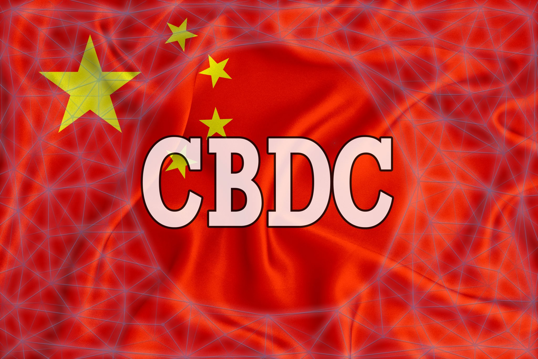 china flag with the inscription CBDC (Central Bank Digital Currency) and a blockchain grid around. Graphic concept for your design. 3d rendering