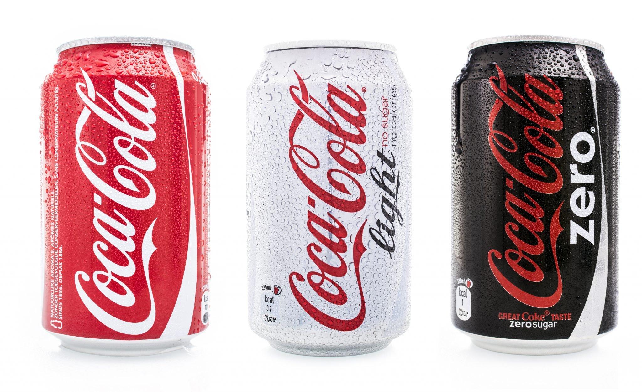 Coca cola soda cans