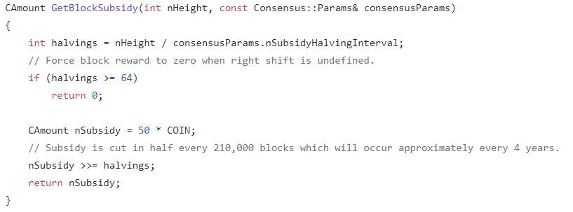 fonction qui gère le halving, source : github/bitcoin