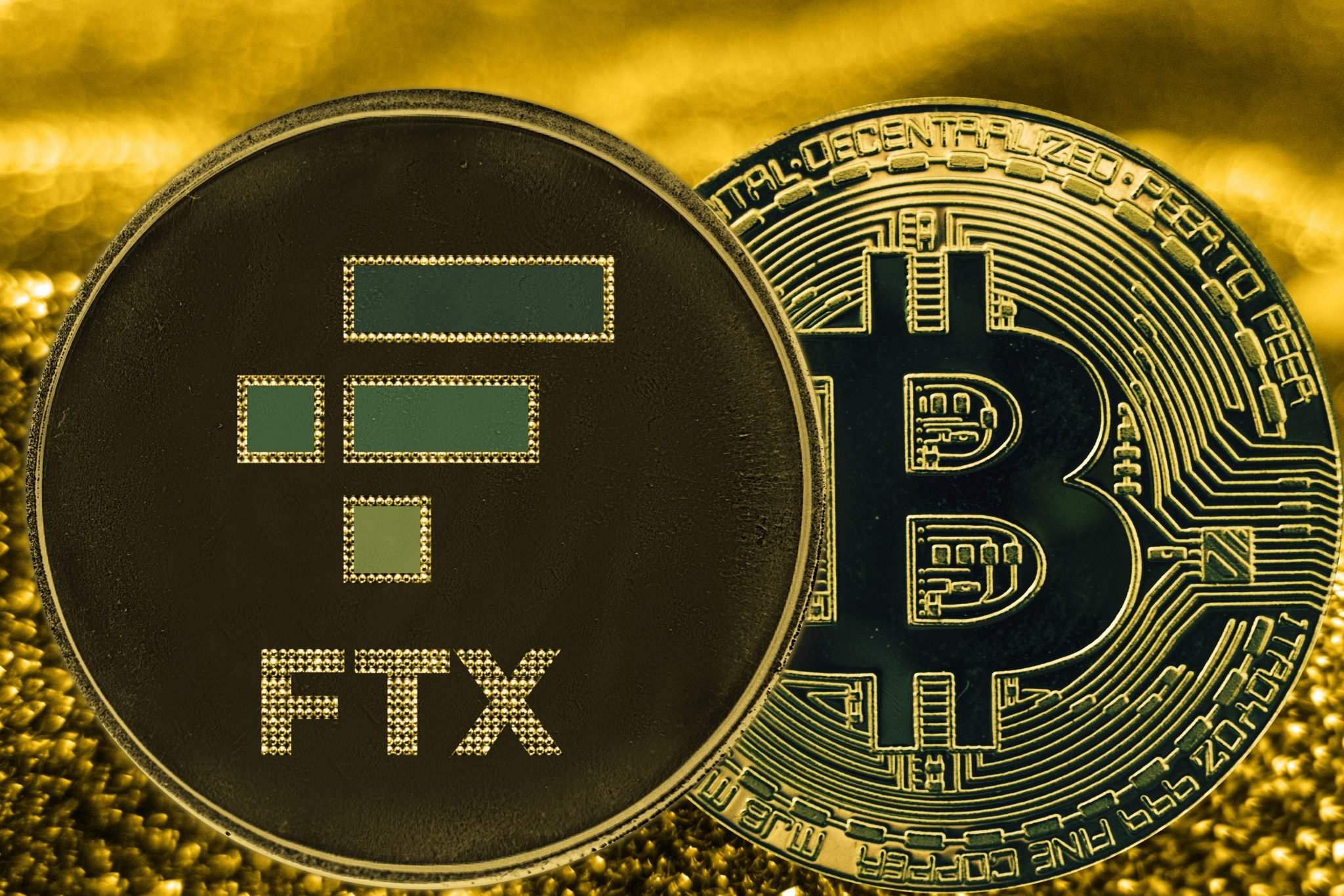 Coin cryptocurrency bitcoin BTC and FTX token on golden backg