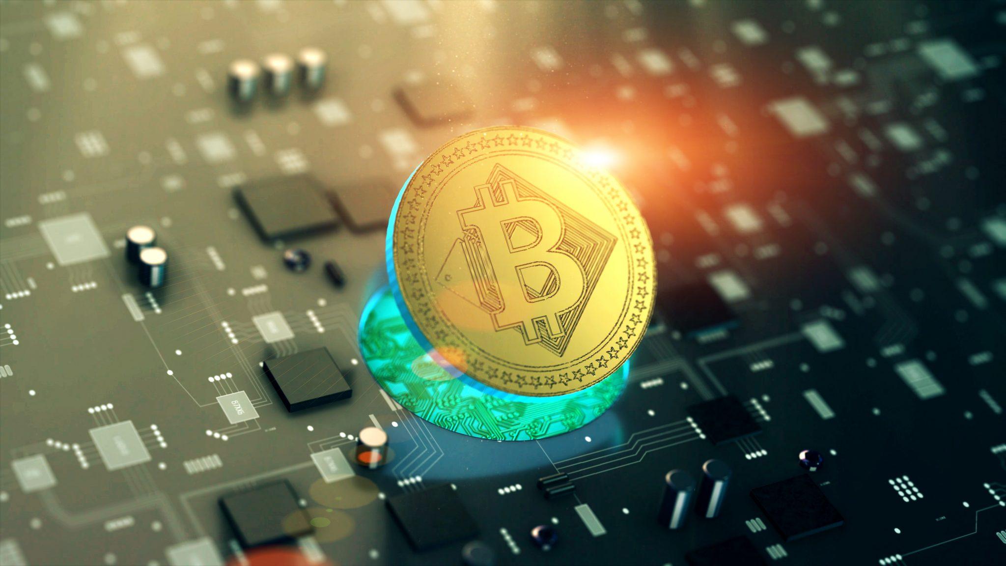 Digital cryptocurrency Bitcoin symbol on circuit board