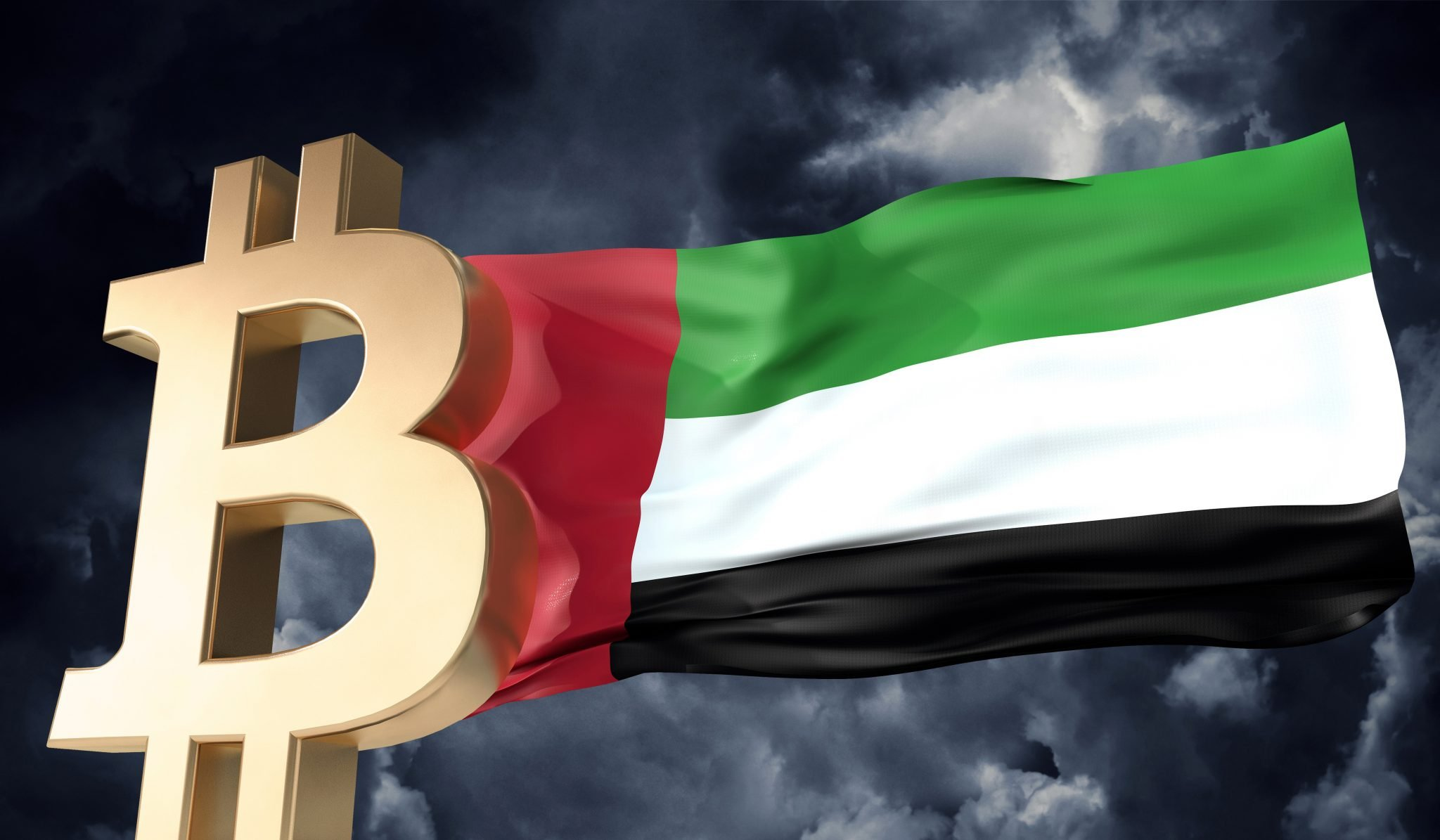 Gold bitcoin cryptocurrency with a waving UAE flag. 3D Rendering